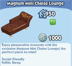 The Sims Social, Magnum Mini Chaise Lounge