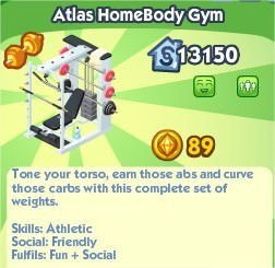The Sims Social, Atlas HomeBody Gym