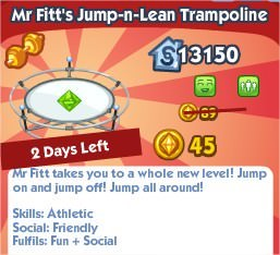The Sims Social, Mr Fitt's Jump-n-Lean Trampoline