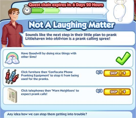 The Sims Social, Not A Laughing Matter 2