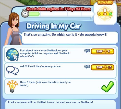 The Sims Social, Driving In My Car 1