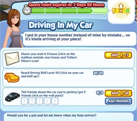 The Sims Social, Driving In My Car 5