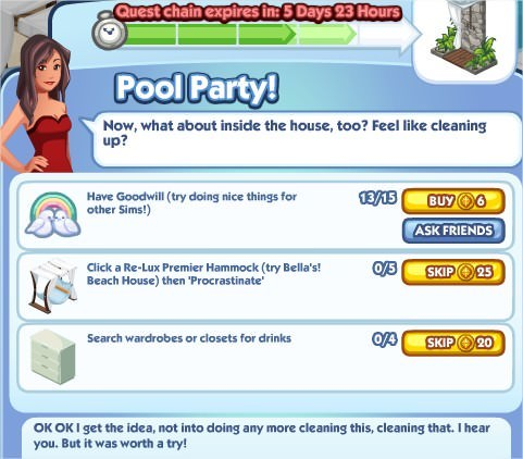 The Sims Social, Pool Party! 4