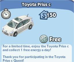 The Sims Social, Toyota Prius c