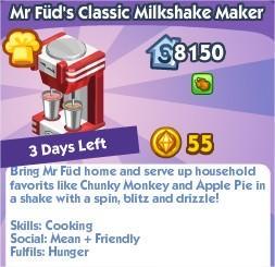 The Sims Social, Mr Füd's Classic Milkshake Maker