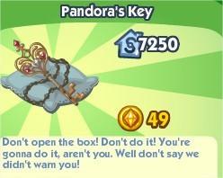 The Sims Social, The Sims Social, Pandora' Key