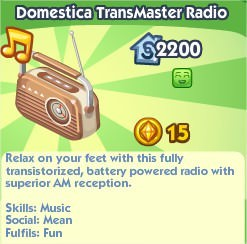 The Sims Social, Domestica TransMaster Radio