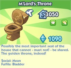 The Sims Social, M'Lord's Throne