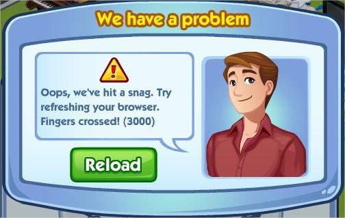 The Sims Social, Error 3000