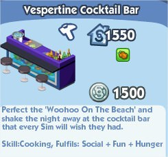 The Sims Social, Vespertine Cocktail Bar