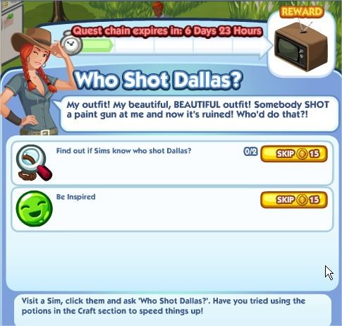 The Sims Social, Who Shot Dallas 1