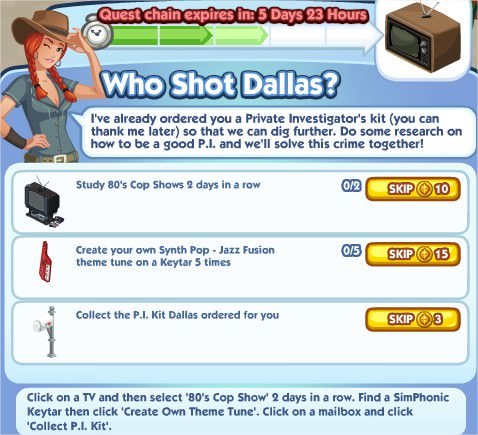 The Sims Social, Who Shot Dallas 3