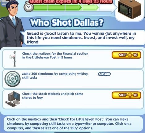 The Sims Social, Who Shot Dallas 4
