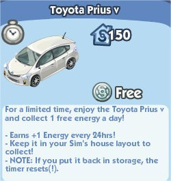 The Sims Social, Toyota Parius V