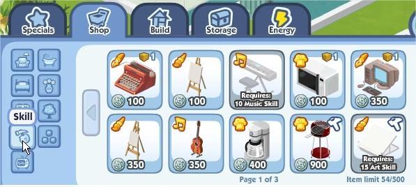 The Sims Social, skills