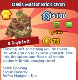 The Sims Social, Oasis Master Brick Oven