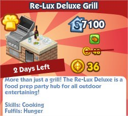 The Sims Social, Re-Lux Deluxe Grill