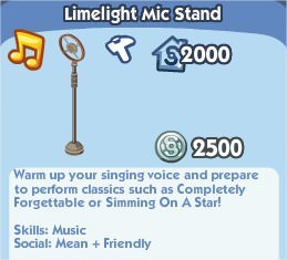 The Sims Social, limelight Mic Stand