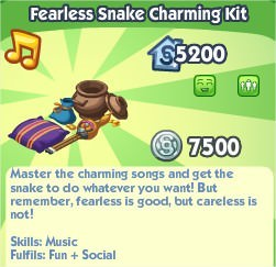 The Sims Social, Fearless Snake Charminh Kit