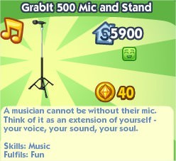 The Sims Social, Grablt 500 Mic and Stand