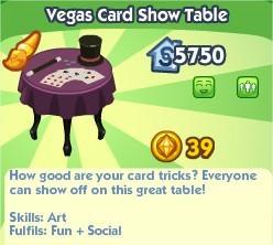 The Sims Social, Vegas Card Show Table