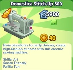 The Sims Social, Domestica Stitch-Up 500