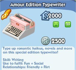 The Sims Social, Amour Edition Typewriter