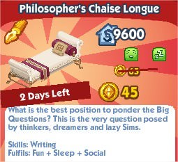 The Sims Social, Philosopher's Chaise Lounge