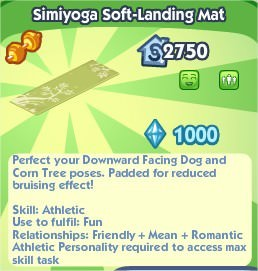The Sims Social, Simiyoga Soft-Landing Mat