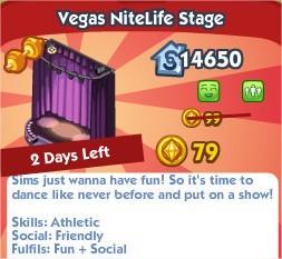The Sims Social, Vegas NiteKife Stage