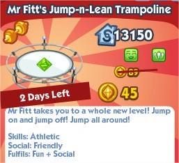 The Sims Social, Mr Fitt's Jump-n-Lean Trampoline