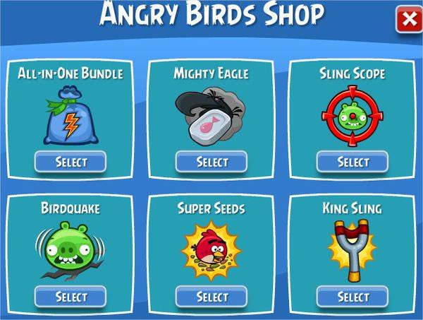 Angry Birds on Facebook, Shop