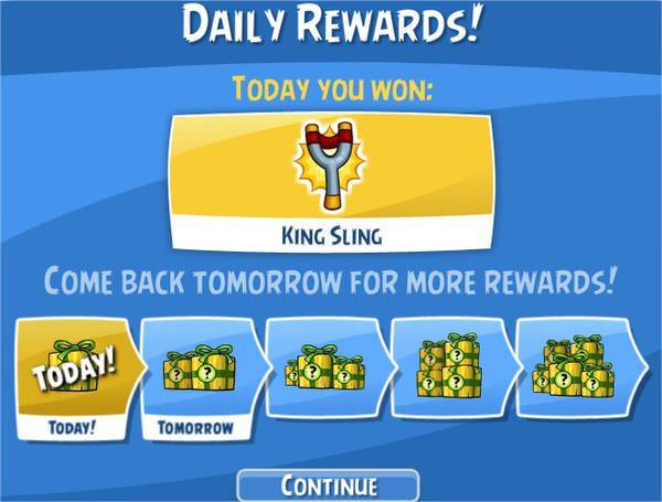 Angry Birds on Facebook, Daily Rewards