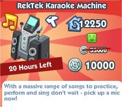 The Sims Social, RekTek Karaoke Machine