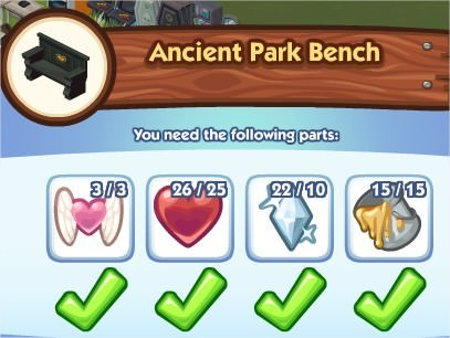The Sims Social, Ancient Park Bench