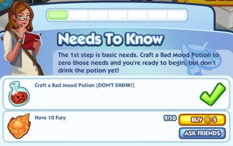 The Sims Social, Need to Know 1