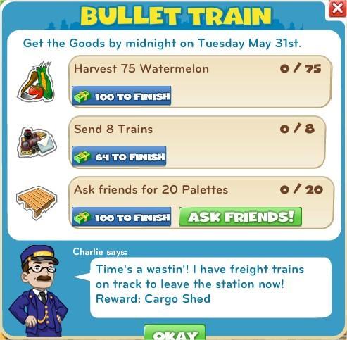 CityVille, Bullet Train