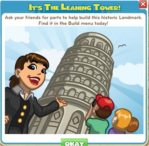 CityVille, leaning tower