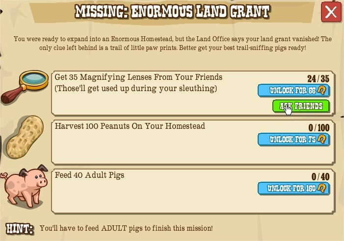 MISSING: ENORMOUS LAND GRANT