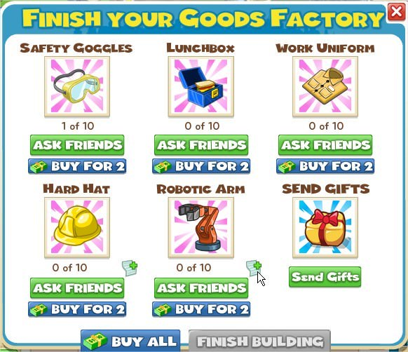 CityVille, Goods Factory