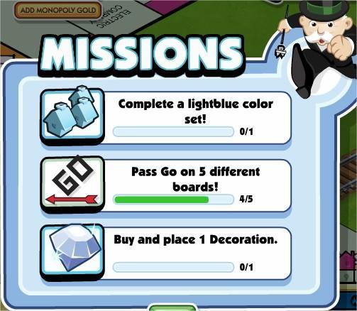 Monopoly Millionaires, Missions