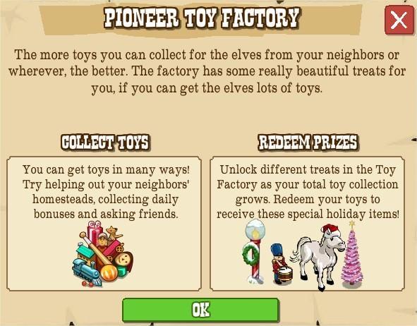 FrontierVille, pioneer toy factory