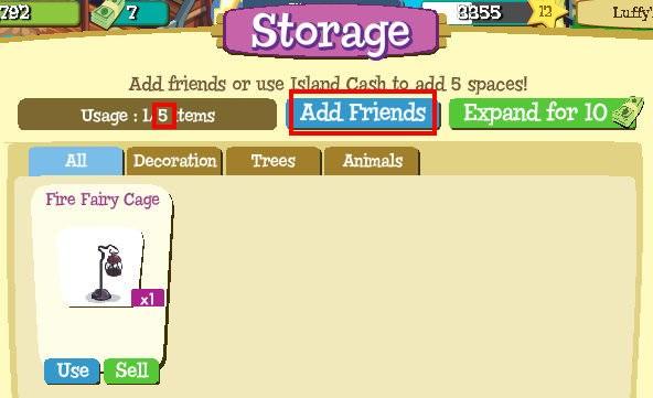 Treasure Isle, storage