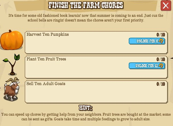 FINISH THE FARM GHORES