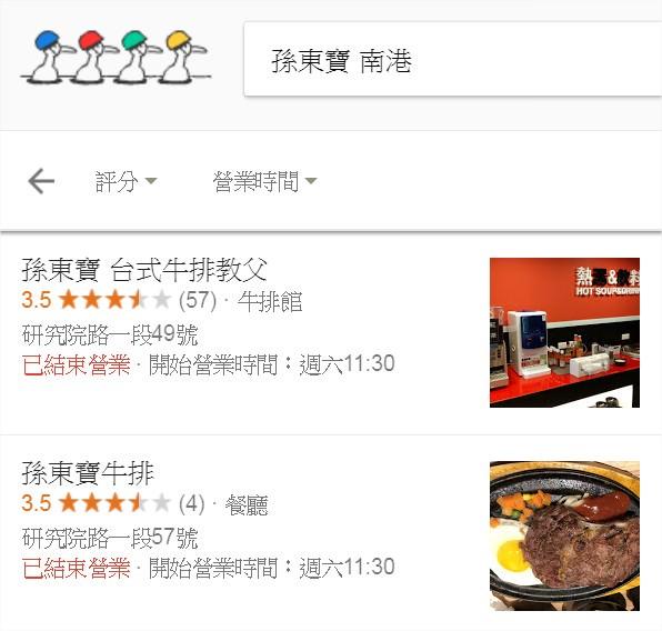 孫東寶台式牛排@南港店, google 地址