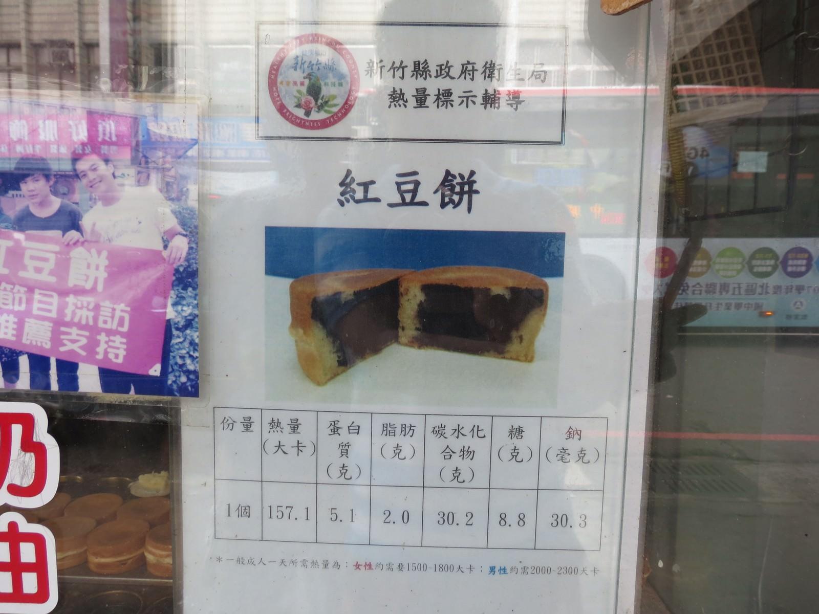 關西紅豆餅, 熱量標示