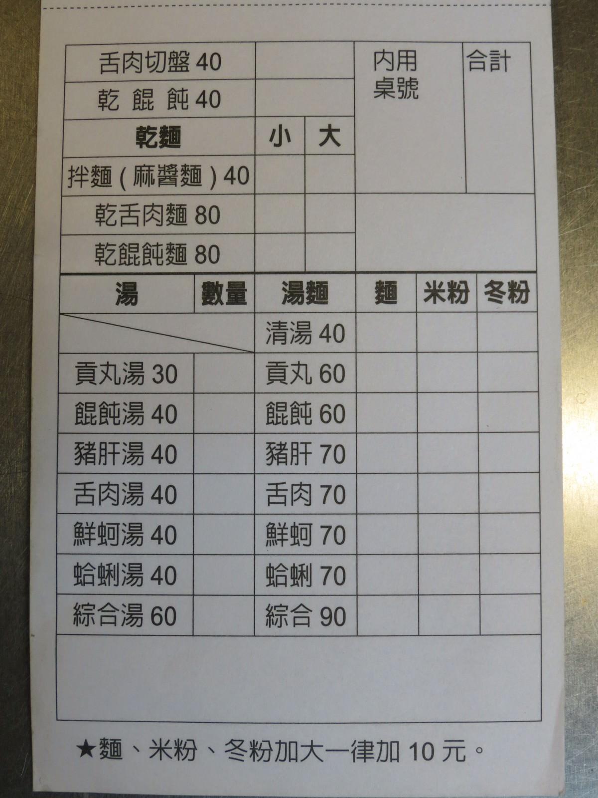 林記麻醬麵@成德市場, 點菜單/Menu