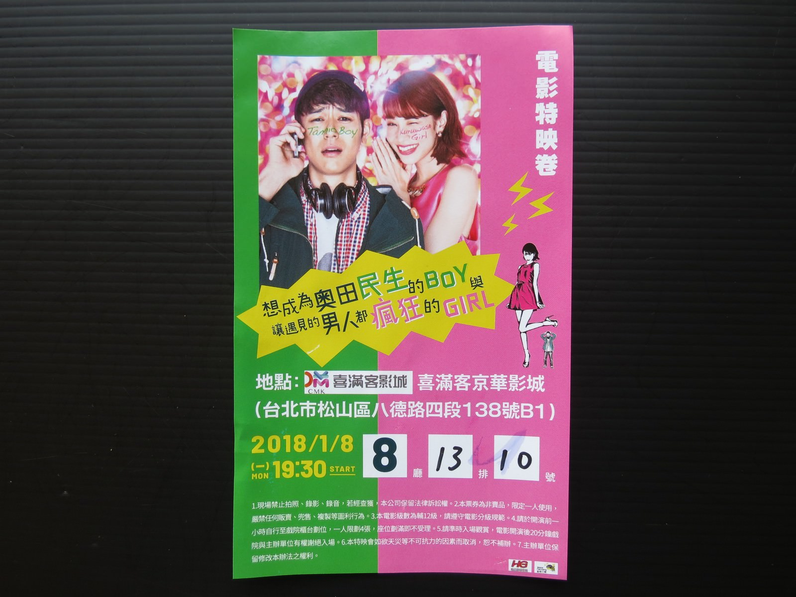 Movie, Movie, 奥田民生になりたいボーイと出会う男すべて狂わせるガール(日本) / 想成為奧田民生的BOY與讓遇見的男人都瘋狂的GIRL(台灣) / Tornado Girl(英文), 特映會電影票