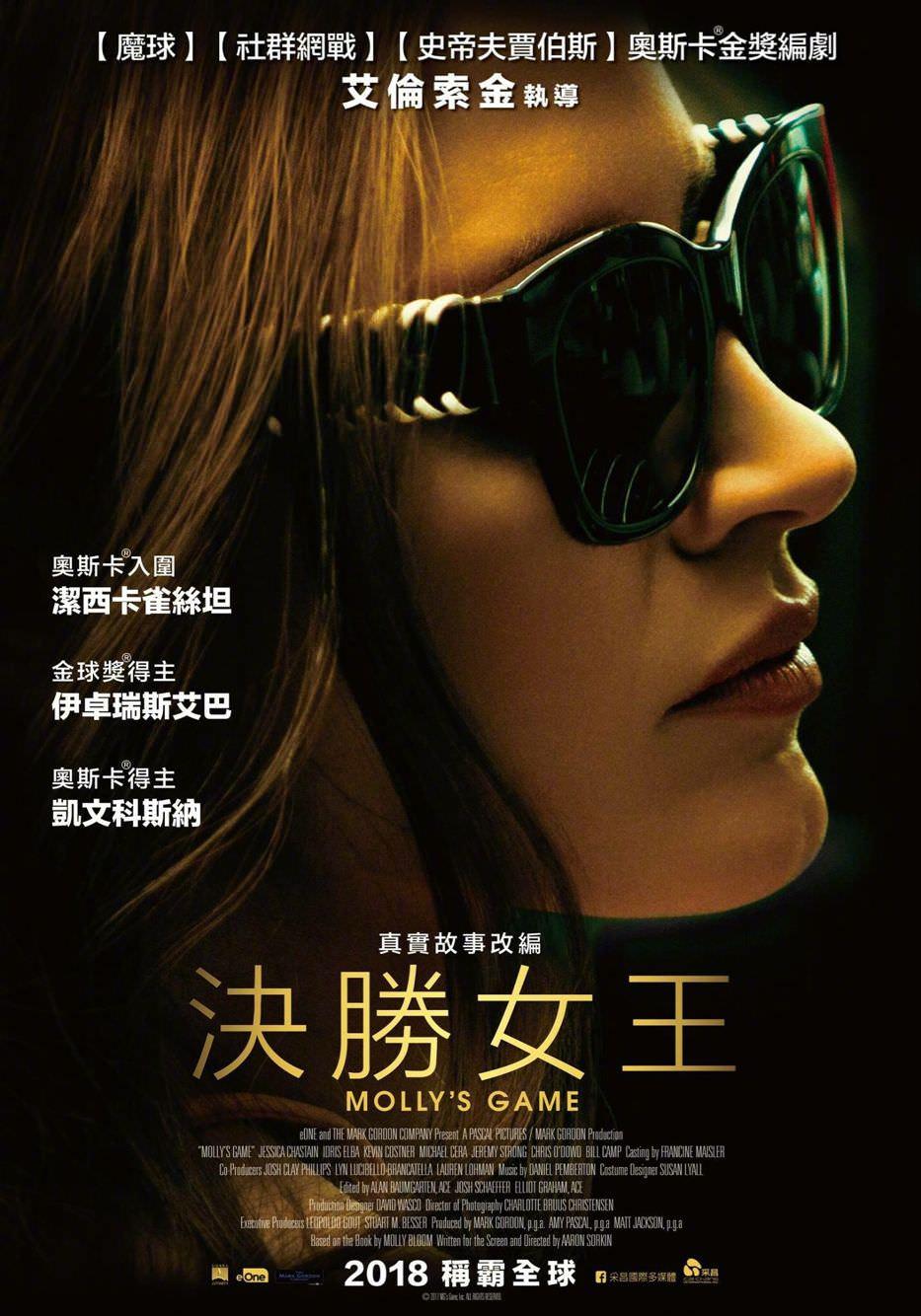 Movie, Molly's Game(美國, 2017) / 決勝女王(台灣) / 莫莉遊戲(香港) / 茉莉牌局(網路), 電影海報, 台灣
