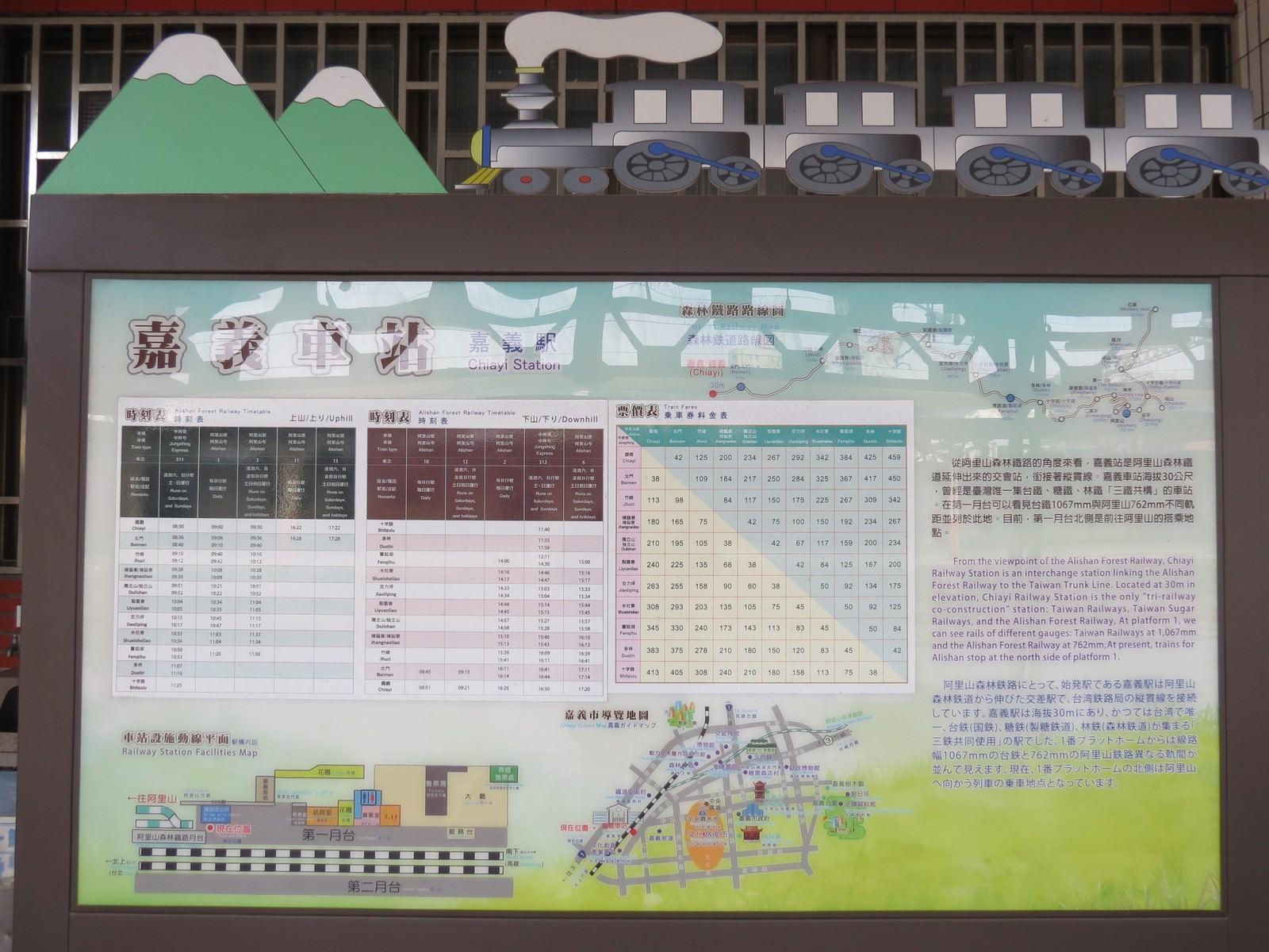 阿里山林業鐵路(森林小火車), 停靠暫與票價